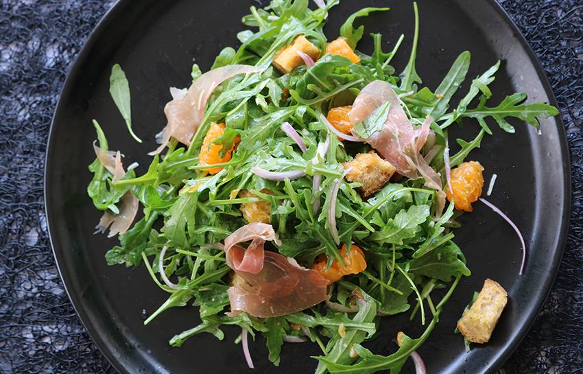mandarin rocket prosciutto salad